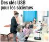 L'Union du Cantal du 16 octobre 2010 : Des clés USB pour les sixièmes - Neussargues.