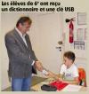 La Montagne du 25 septembre 2012 : Les élèves de 6eme ont reçu un dictionnaire et une clef USB – Allanche.