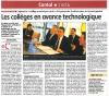 La Montagne du 14 décembre 2012 : Collège Numérique Rural : les collèges en avance technologique
