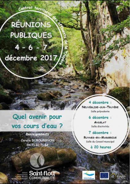 Réunions publiques  : Quel avenir pour vos cours d'eau ?  Débats autour de l'état écologique et l'évolution des cours d'eau du bassin de la Truyère cantalienne Crédit : Saint-Flour Communauté